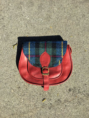 Sketch London Harris Tweed & Leather Medium Bag Tartan Red Ethical Fashion Women
