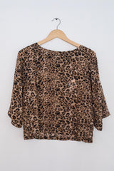 Sketch London Fashion Leopard Print Biba Top Sleeves office cocktail evening day ethical sustainable british fashion