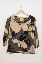Sketch London Fashion Camouflage Crepe Top Sleeves ethical sustainable british design