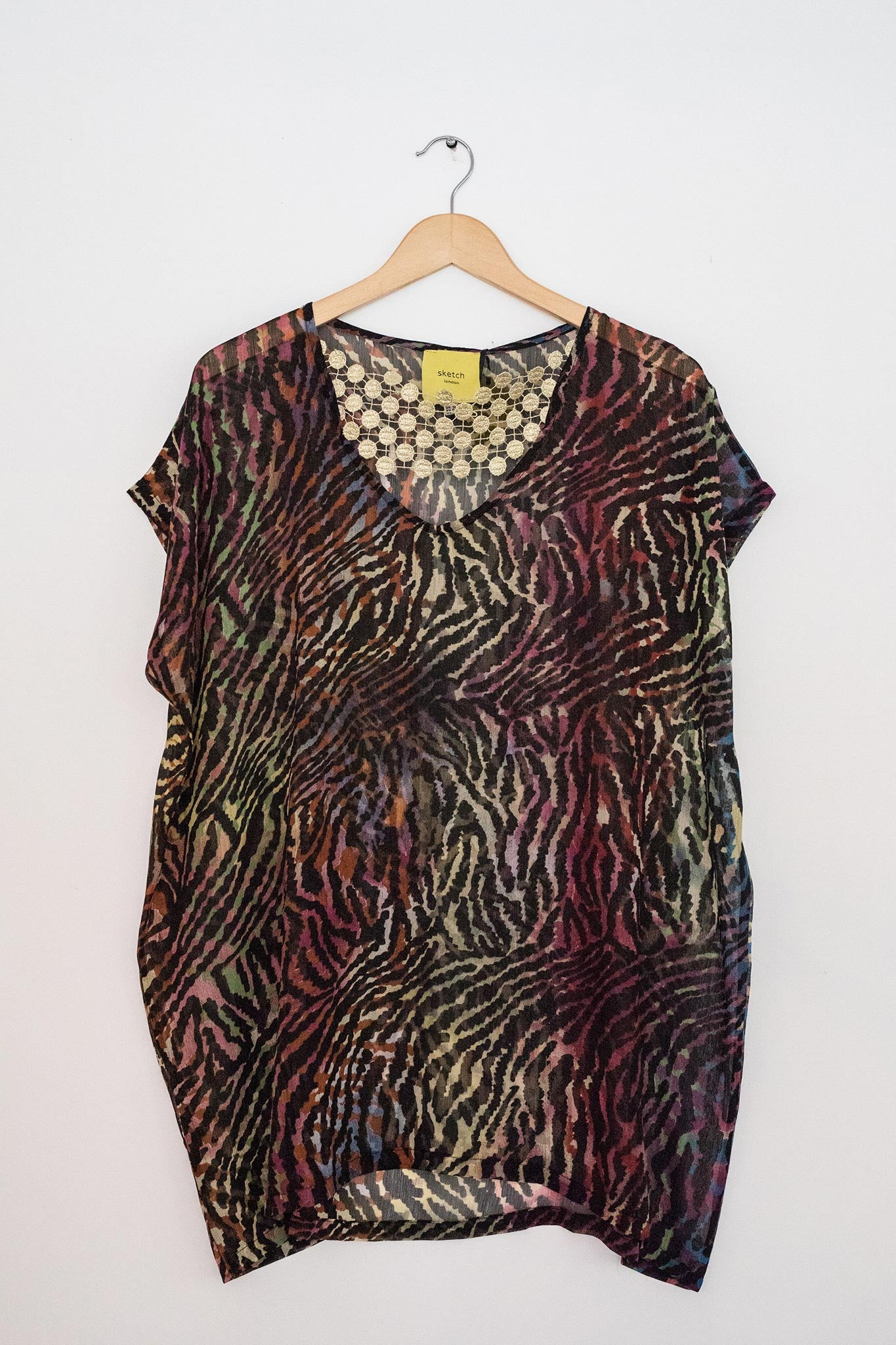 Sketch London Fashion caftan kaftan beachwear cover up animal print zebra colourful british ethical sustainable