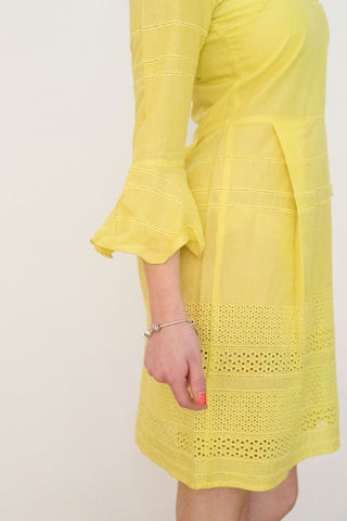 Monique Ruffle Cuff Dress, Canary