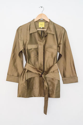 Sketch London womens Safari light summer Jacket short contemporary dark gold ethical sustainable british style