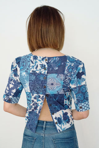 Indigo Patch Print Milly Button Back Top