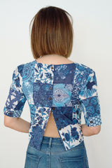 Sketch London Fashion Button Back Top Cotton indigo patch Ethical sustainable block print
