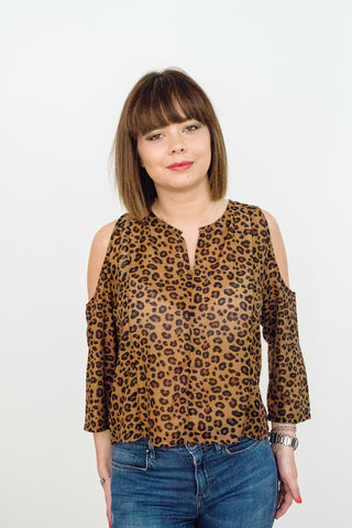 Anya Cold Shoulder Top, Leopard Print
