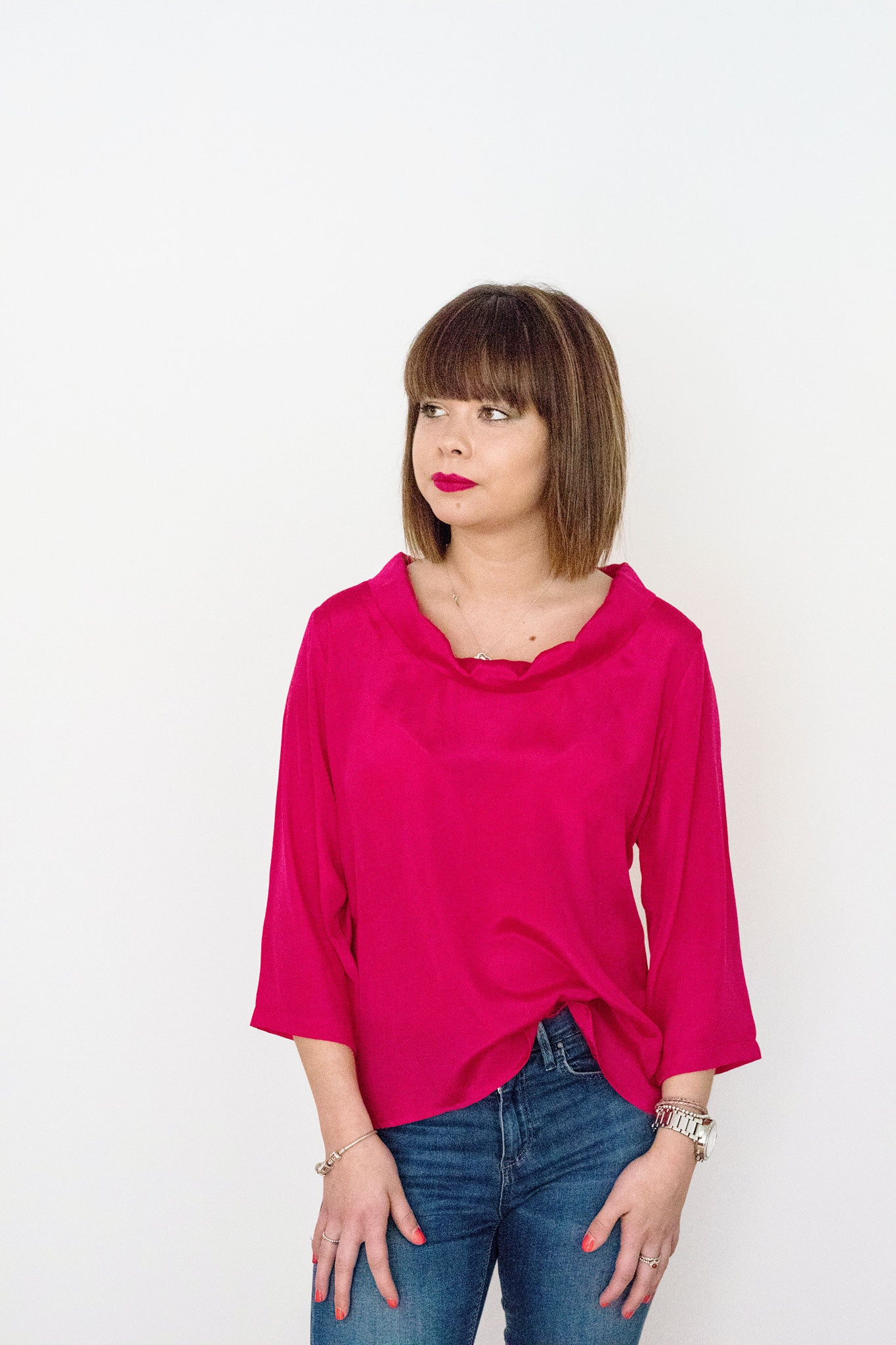 Sketch London Hot Pink roll neck Top with sleeves Ethical Sustainable Fashion Women