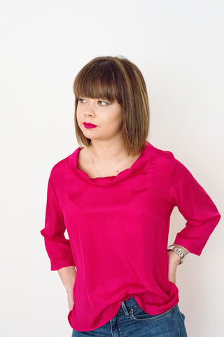 Brigitte Roll Neck Top, Hot Pink