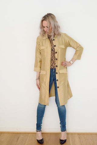 Sketch London Fashion gold long safari jacket trench coat contempoary summer ethical sustainable british style