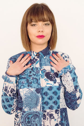 Indigo Patch Print Cherie Blouse