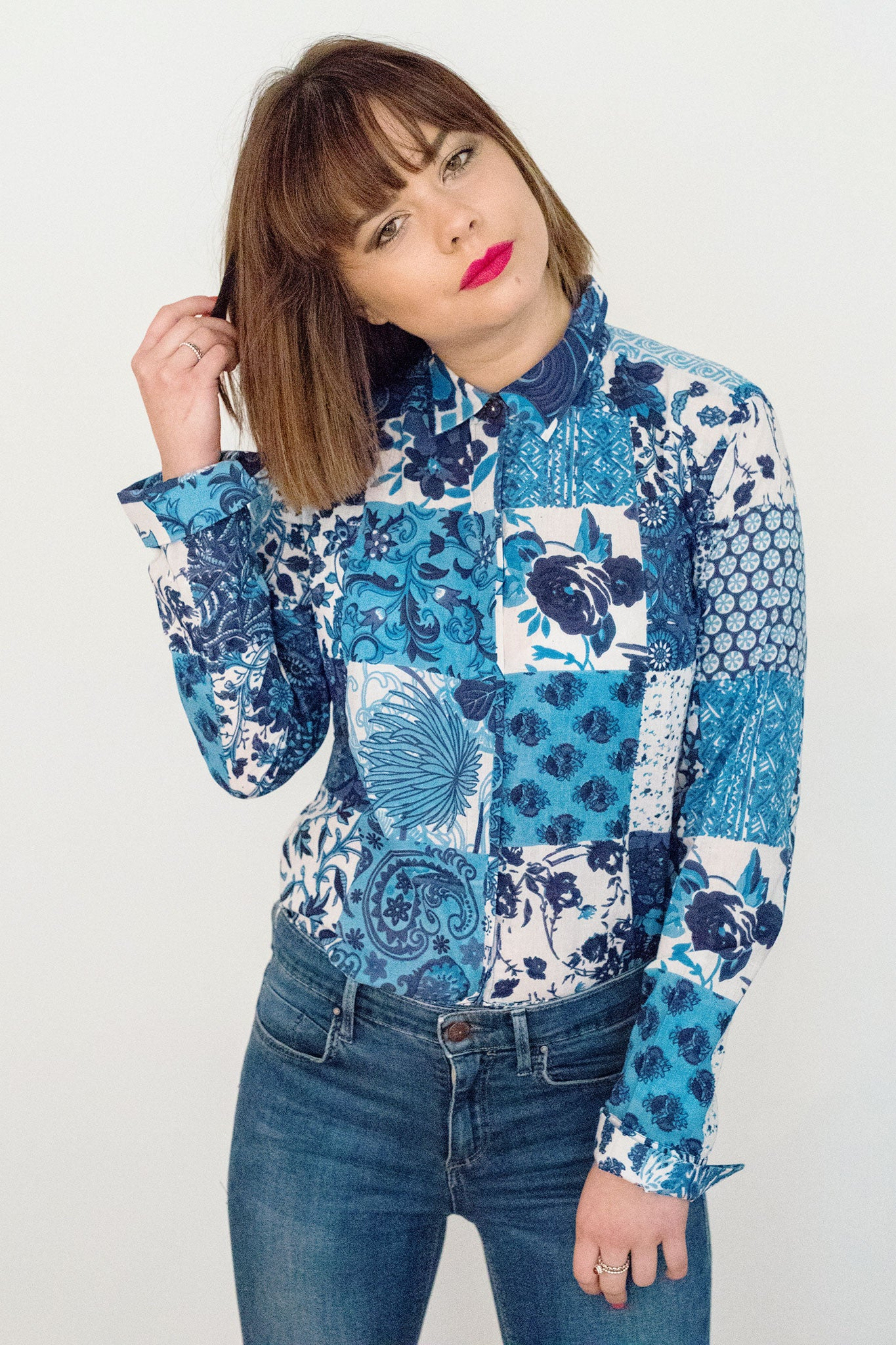 Sketch London Fashion Indigo blue flower patch print shirt long sleeves ethical sustainable style british design