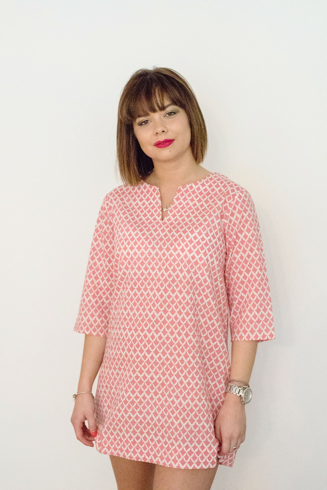 Sketch London Fashion cotton tunic pink tile print dress beachwear summer sleeves