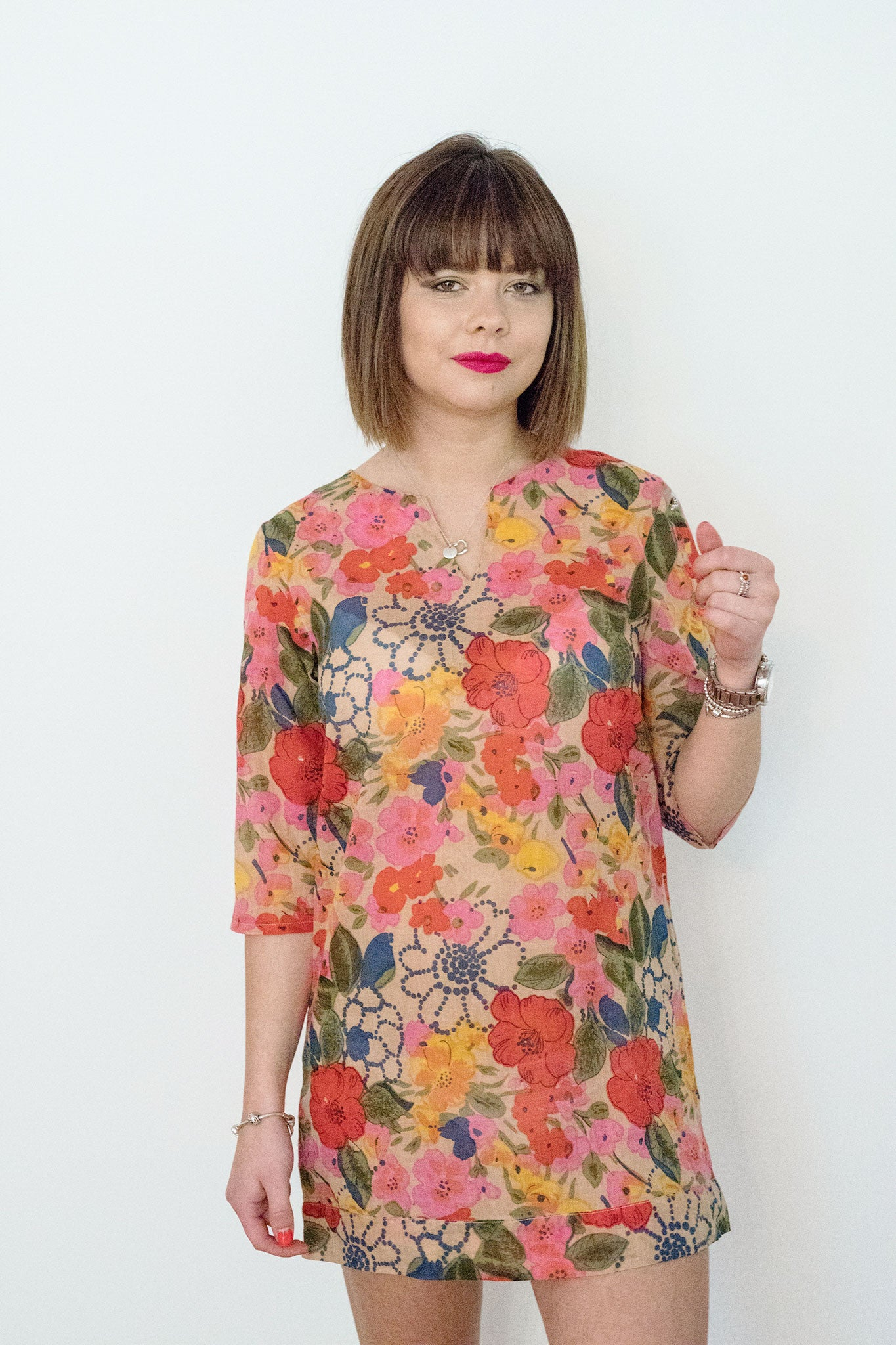 Sketch London Fashion cotton tunic vibrant flower print dress beachwear summer sleeves