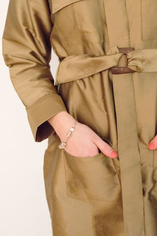 Gazelle Safari Trench Coat, Dark Gold Long