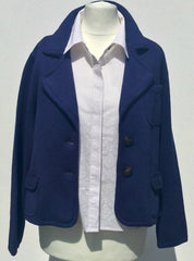 Sketch London Fashion Juliette Blazer Navy Blue Cotton Petite Smart Casual Outerwear Women