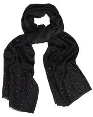Sketch London Polka Dot Wool Scarf Magenta Black