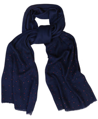 Sketch London Polka Dot Scarf Navy Red