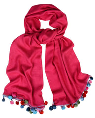 Sketch London Silk pom pom wool scarf hot pink