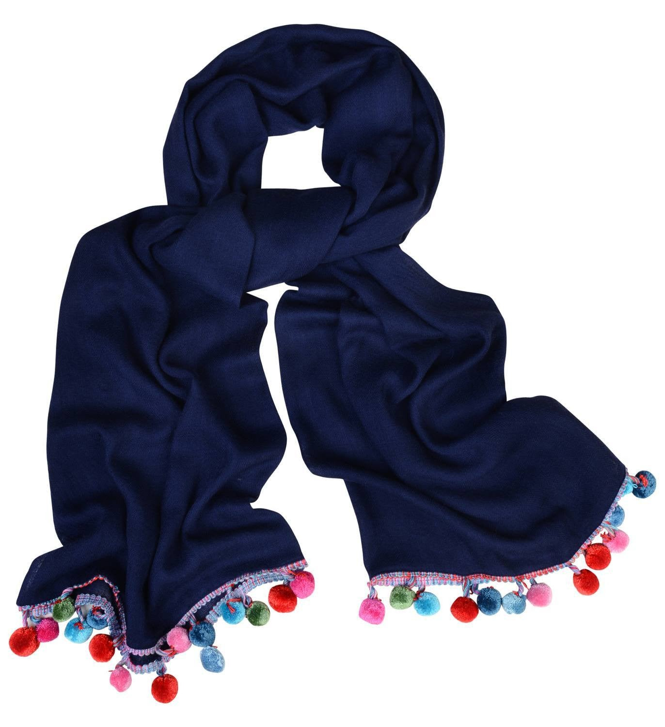 Sketch London Silk pom pom wool scarf navy blue