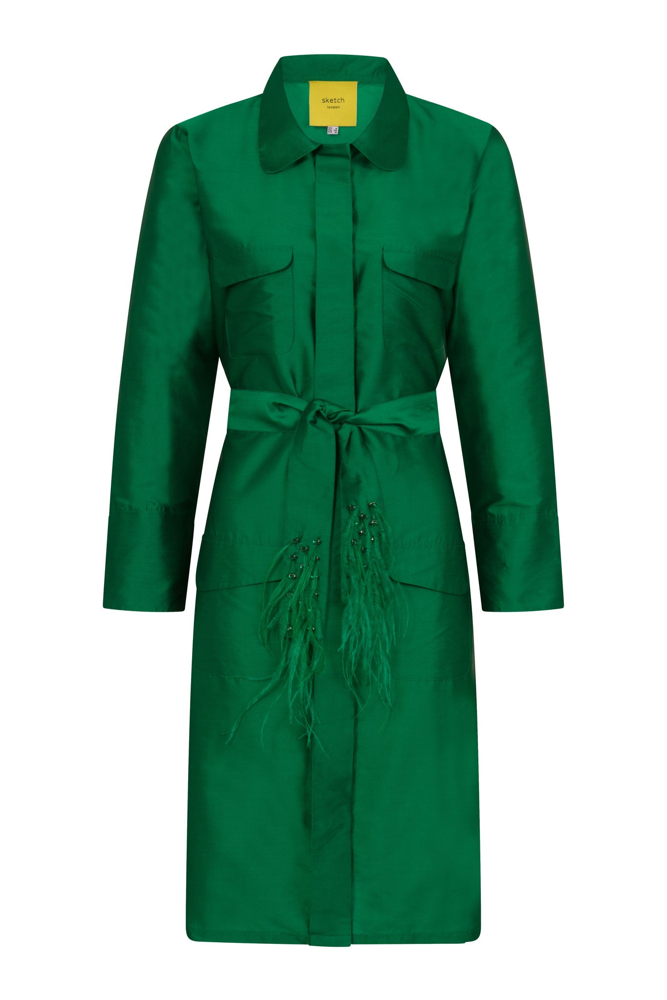 Sketch London cocktail trench coat emerald green ostrich feathers ethical sustainable
