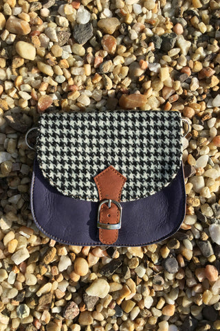 Harris Tweed & Leather Bag, Dogtooth & Lavender Ink