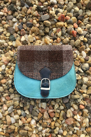 Harris Tweed & Leather Bag, Clear Skies