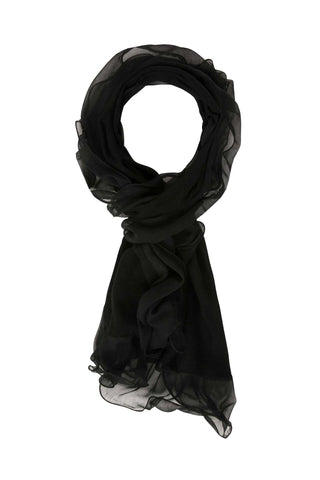 Sketch London merino wool scarf with chiffon ruffles black ethical sustainable gift