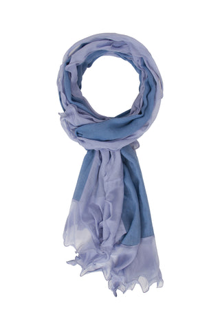 Sketch London merino wool scarf with chiffon ruffles ice blue baby blue pastel ethical sustainable gift