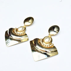 Sketch London Vintage Gold Statement Clip on Earrings Big Long