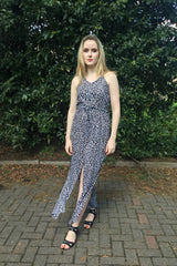 Sketch London Black Print Cotton Maxi Dress Sexy Slits Beachwear Women Summer 2016
