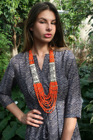 Tangerine Dream Shell Bead Necklace