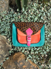 Sketch London animal cheetah print bags sea green coral orange pink satchel ethical sustainable british design gift women