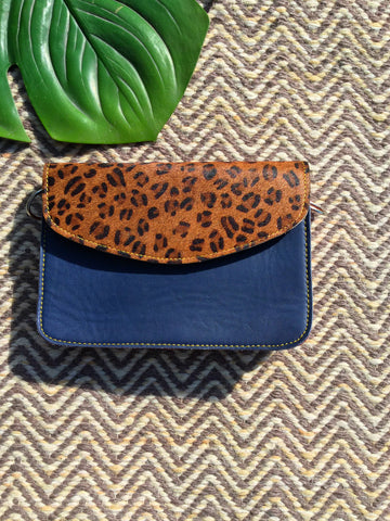 Animal Print Envelope Bag, Midnight