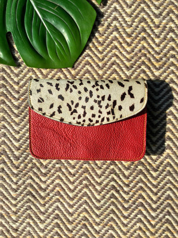 Animal Print Envelope Bag, Ruby Rouge