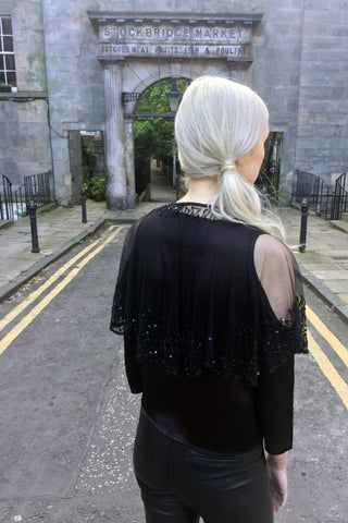 Beaded Cape, Black