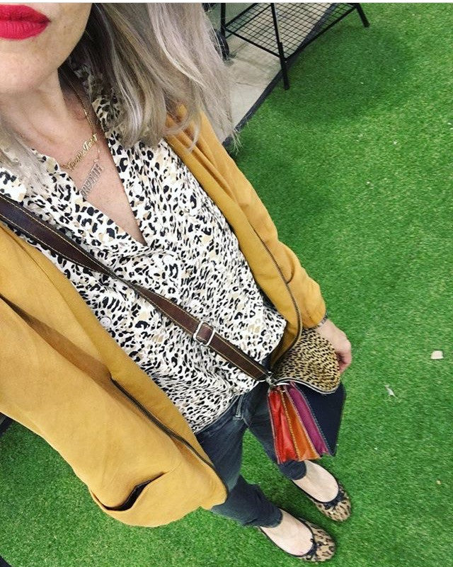 Sketch London Animal Print Envelope Bag Leather ethical sustainable British design gift for women crossbody bag