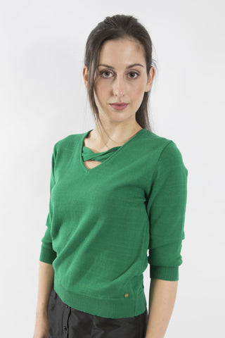 Sketch London emerald green Contemporary V neck jumper with a chic twisted bow  detail. Sleeves are cropped ethical sustainable cotton