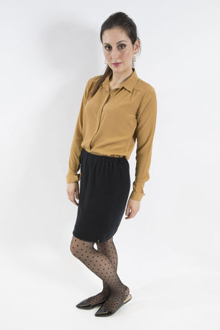 Cotton Knit Skirt, Black