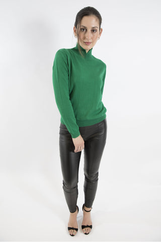 Sketch London Emerald Green Full Sleeve Polo Neck Turtleneck Jumper Sweater Ethical Sustainable Women