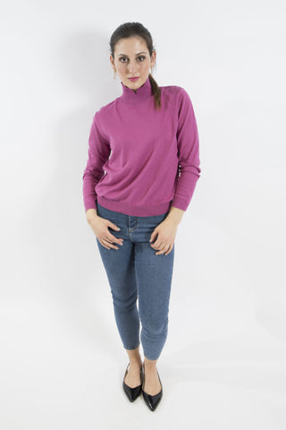 Sketch London Pink Full Sleeve Polo Neck Turtleneck Jumper Sweater Ethical Sustainable Women