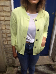 Sketch London citrus lemon green mouse knit textured cardigan with pockets and cocunut buttons ethical sustainable