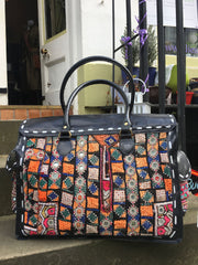 Shimla Antique Embroidery & Leather Bag Sketch London Ethical Fashion Women travel weekend luggage black