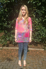 Sketch London Tunic Beach Dress with Sleeves Pink Paisley Print
