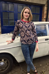 Sketch London Cotton Sweatshirt Aztec Print Top for Women Fashion