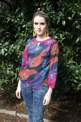 Sketch London Cotton Sweatshirt Peacock Print Top for Women Fashion