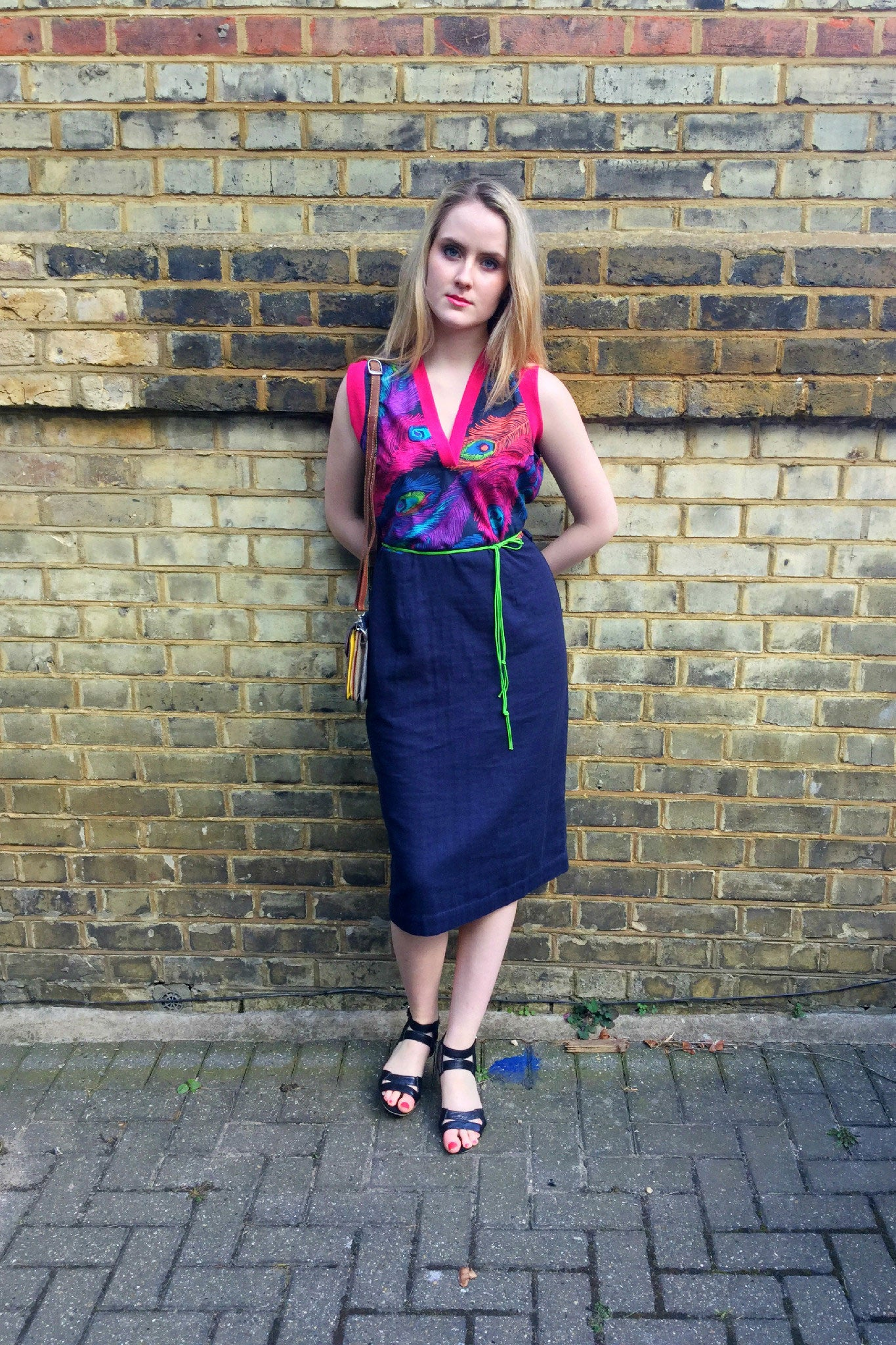 Sketch London Deep V Neck Sleeveless Cotton Colurful Peacock Print Midi Length Dress with Navy Blue Summer Fashion