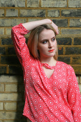 Sketch London Twist Neck Top with Sleeves Coral Red Marrakesh Print Summer Fashion