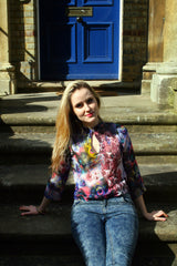 Sketch London Mandarin Chinese Collar Keyhole Top with Sleeves Royal Blue Peacock Print Summer
