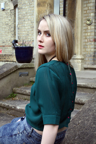 Milly Button Back Top, Emerald Pleats