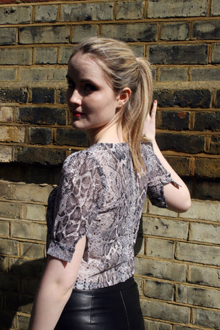 Snake Print Milly Button Back Top