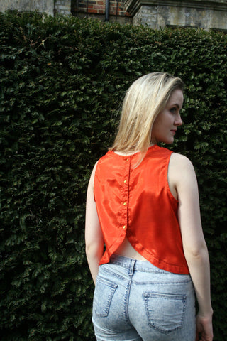 Gemma Sleeveless Button Back Top, Tomato Red